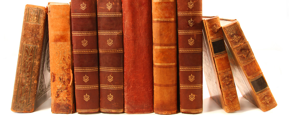 antique books on white background